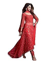 Krishna Red Color Georgette Semi Stitch Dress Material With Dupatta..