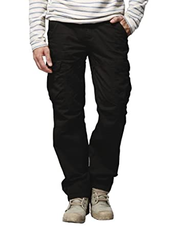 Match Mens Casual Outdoors Active Cargo Pants Trousers #6521(30,Black)