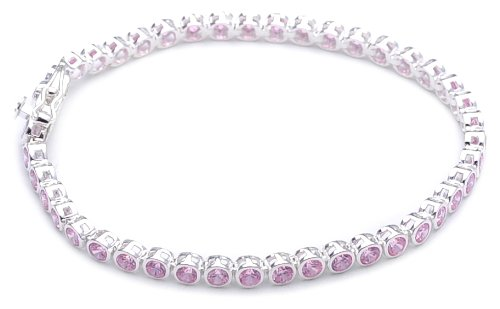 Silver Round Pink Cubic Zirconia Tennis Bracelet of Length 18cm