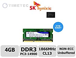 Timetec Hynix IC 4GB DDR3 1866MHz PC3-14900 Non ECC Unbuffered 1.5V CL13 1Rx8 Single Rank 204 Pin SODIMM Laptop Notebook Computer Memory Ram Module Upgrade (4GB)