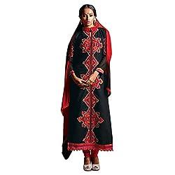 Pavani Women's Cotton Semi Stitched Dress Material (D1500040_Black_Free Size)