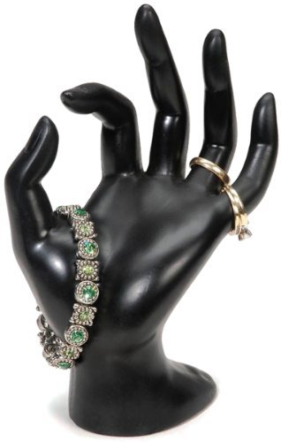 Darice 1999-1612 Polyresin Hand Form Bracelet Display, Black