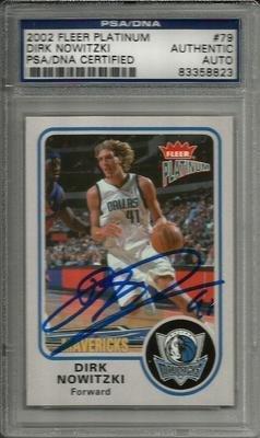 2002 Fleer Platinum Dirk Nowitzki Signed Trading Card Slabbed - Psa/Dna Certified - Signed Nba Basketball Cards