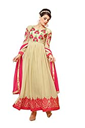 YOUR CHOICE Georgette Beige Embroideried Women's Anarkali HTS1008