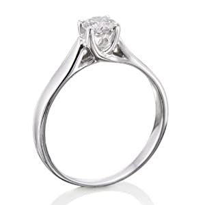 Certified, Round Cut, Solitaire Diamond Ring in 18K Gold / White (1/3 ct, E Color, SI3 Clarity)