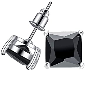 Anmao 10mm Crystal Stud Earrings for Women Jewelry of Platinum Plating Black Square Cubic Zirconia Stud Earrings Wedding Jewelry with a Beautiful Box 1D01