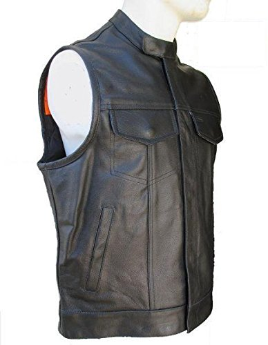 GILET CUIR COL MAO SOA TAILLE XL