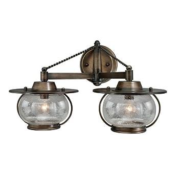 Rustic Bronze Vanity Lights : Vaxcel Jamestown 2-Light Vanity - 18W in. Parisian Bronze - Vanity Lighting Fixtures - Amazon.com