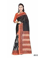 Amazing Black Bhagalpuri Printed Art Silk Designer Saree