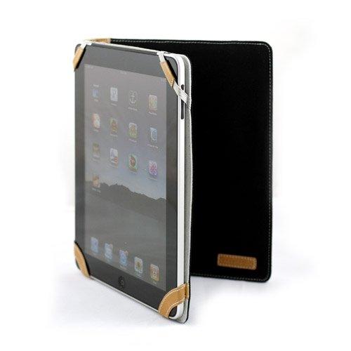 CaseCrown Preppy Horizontal Flip Cotton Weave Organizer Portfolio Style Case (Black) for the Apple iPad Wifi / 3G Model 16GB, 32GB, 64GB