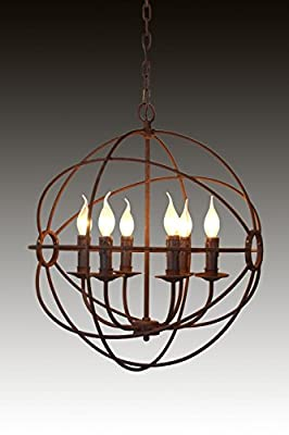 "23"" 6-LIGHT RUSTIC IRON ORB CHANDELIER - A FOUCAULT's Global Style ^#H4345 344Y584H280644"