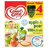 Cow & Gate 4-36 Mths+ Apple & Pear 100% Fruit Pouches 4 x 90G