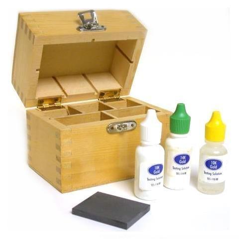 Gold Acid Test Kit 10k,14k,18k,Testing Stone & Wood Box