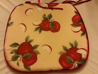 "The Pecan Man Set of 4 Chair Pads Cushions Apples 15"" x 15"""
