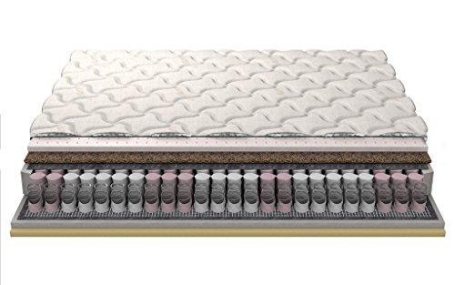 """DUO Posh Visco cocco materasso in lattice tasca molle gomma piuma del lattice 18cm v 24cm a 3 strati trapuntato """"Silver"""" copertura 200x200 cm"""