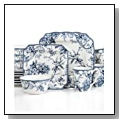 222 Fifth 16 Pc Dinnerware Set, Blue & White Square Toile Bird