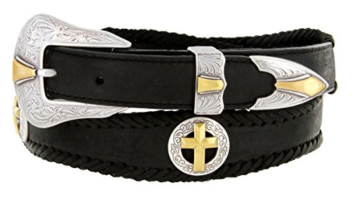 Gold Christian Cross Conchos Western Leather Scalloped Belt Black 36