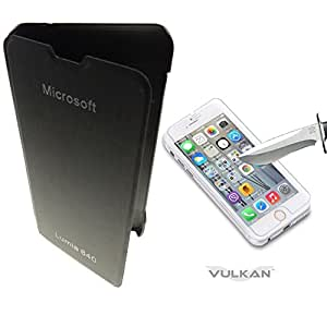 Vulkan Flip Cover Case for Microsoft Nokia Lumia 640 (Black) + Tempered Glass Screen Protector Combo