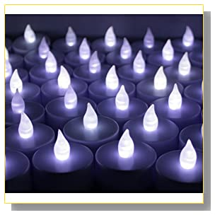 12 PCS Battery Operated Flameless LED Flickering Tea lights Candles - Cool White Tealights ~BlueDot Trading