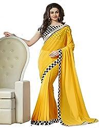 Hari Krishna sarees Designer Yellow Color With Black and White Chex Georgette Saree/f225