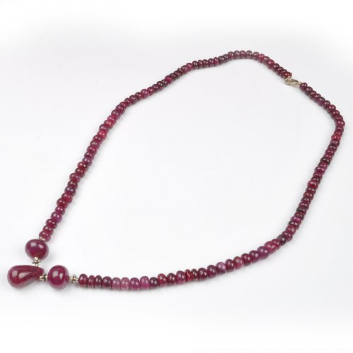 Handmade Beautiful Natural Cabochon Red Ruby Drop Beaded Single Strand Necklace Necklace