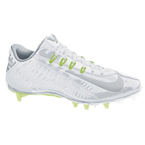 Nike Men`s Vapor Carbon Elite Football Cleats Shoes, White/Metallic Silver, 10