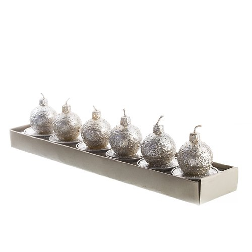 Silver Ball Ornament Tea Light Candle Set Of 6