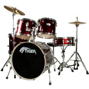 Tiger Full Size Drum Kit - Wine Red