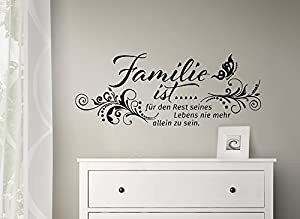 grandora w993 wandtattoo familie ist mit blumenranke schmetterling wandaufkleber spruch wand. Black Bedroom Furniture Sets. Home Design Ideas