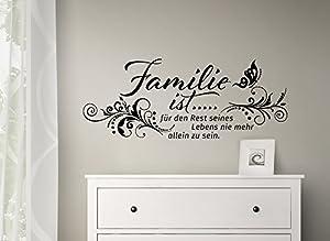 grandora w993 wandtattoo familie ist mit blumenranke schmetterling wandaufkleber spruch wand. Black Bedroom Furniture Sets. Home Design Ideas