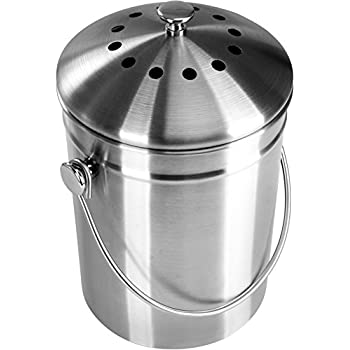 Premium Quality Stainless Steel Compost Bin 1.3 Gallon, Includes Charcoal Filter - Utopia Kitchen