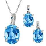 5.87 Ct Oval Swiss Blue Topaz Gemstone 18k White Gold Pendant Earrings Set