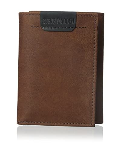Steve Madden Men's Dakota Trifold Wallet, Brown, One Size