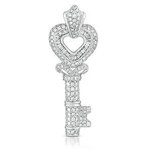 14k 1.42 Dwt Diamond White Gold Key Charm - JewelryWeb