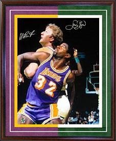 Signed Magic Johnson Photograph - Larry Bird & Framed vs Celtics 1987 Finals 16x20 - Autographed NBA Photos