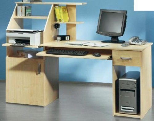 0-0-0-1482: made in BRD – PC-Tisch – Ahorn dekor – moderner Schreibtisch mit Druckerablage – Bürotisch kaufen