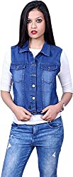 Style Souk Women's Regular Fit Jacket (SKJ007, Blue, Large)