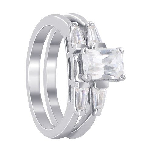 Nickel Free Sterling Silver 5mm x 7mm Emerald Cut Clear Cubic Zirconia Band 4mm Engagement Ring Size 7