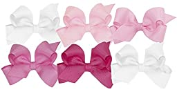 Wee Ones Girls\' Mini Bow 6 pc Set Solid Grosgrain Variety Pack on a WeeStay Clip - White, Light Pink, Pearl, Hot Pink, Shocking Pink