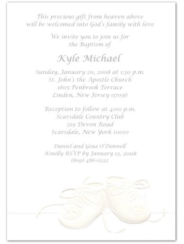 Embossed Booties Baptism Christening Invitations - Set Of 20 front-1011839