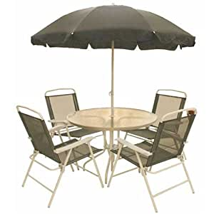 Milano Textilene Metal Glass 6pc Patio Garden Furniture