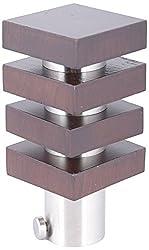 Aavishkar Decors Wooden & Stainless Steel Curtain Knob - Brown