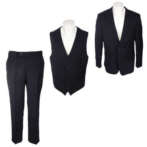 Thomas Brooks Men's Black 3 Piece Suit With Waistcoat in Size Medium