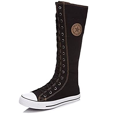 Ghope Women Girl Punk EMO Rock Gothic Zip Lace Up Canvas Boot Shoe Sneaker Knee High (5, Black)