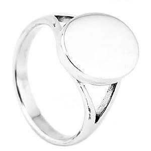 Sterling Silver Engravable Oval Shape Signet Ring (5)