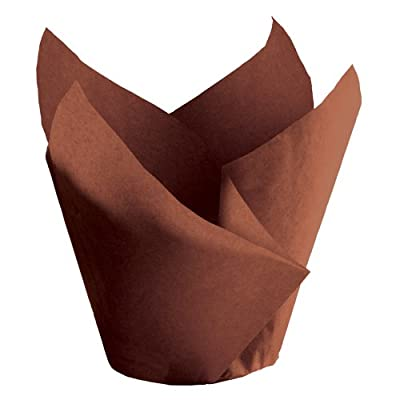 "Hoffmaster 611119 Tulip Cup Cupcake Wrapper/Baking Cup, 2-1/4"" Diameter x 4"" Height, Large, Chocolate (Case of 1000)"