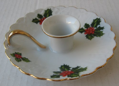 Lefton China Christmas Decorative Chamberstick Candlestick Holder Plate - 5 3/4 inches in diameter