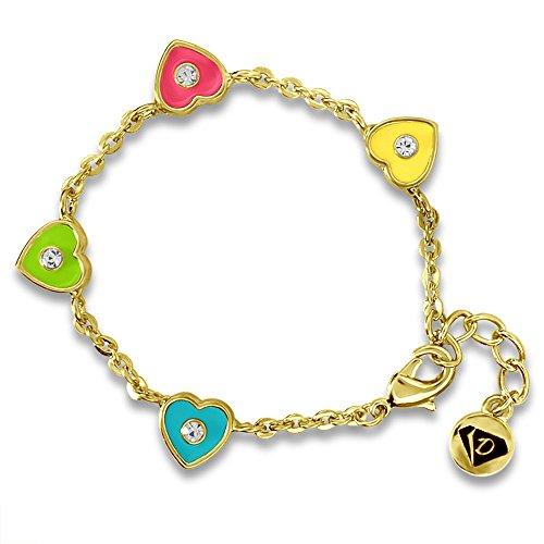 Girls Enamel Charm Bracelets 14k Gold Plated Fashion Jewelry