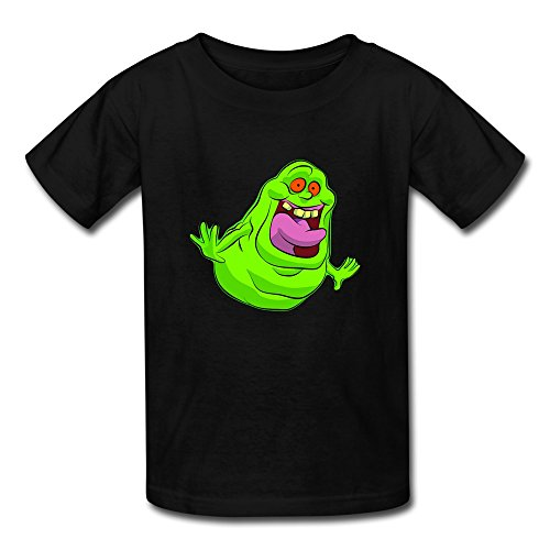Funny 100% Cotton Ghostbusters Slimer Logo Kids Boys And Girls T Shirt Black Size S