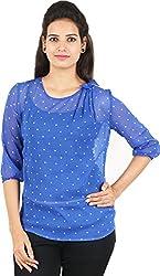 Amadeo Women's 3/4 th Sleeve Top (KRISHA27, Royal Blue, Medium)